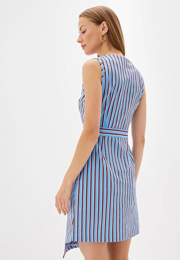 Фото 3 - Женское платье Olegra голубого цвета