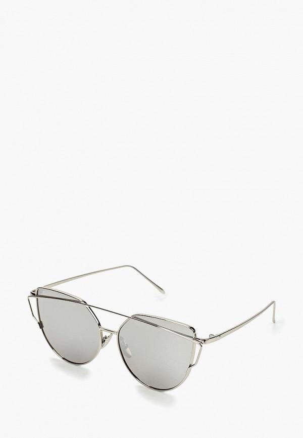 женские солнцезащитные очки кошачьи глаза wow miami, серебряные