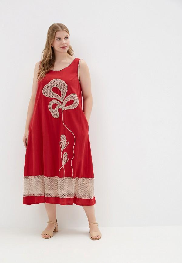 женское платье савосина, красное