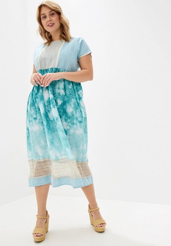 женское платье савосина, голубое