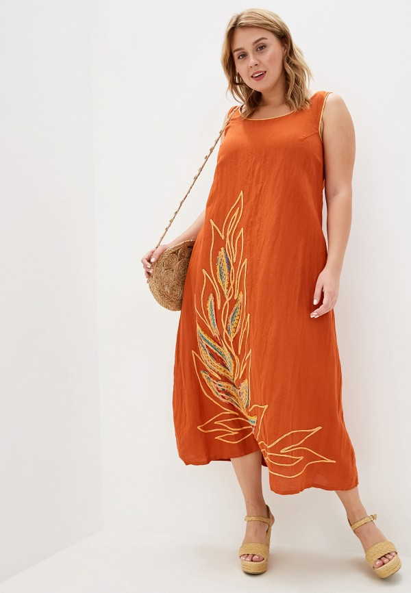 женский сарафан савосина, оранжевый