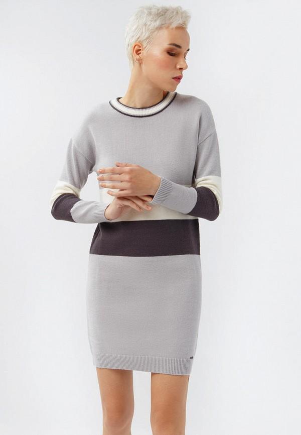 Фото - Женское вязаное платье Finn Flare серого цвета