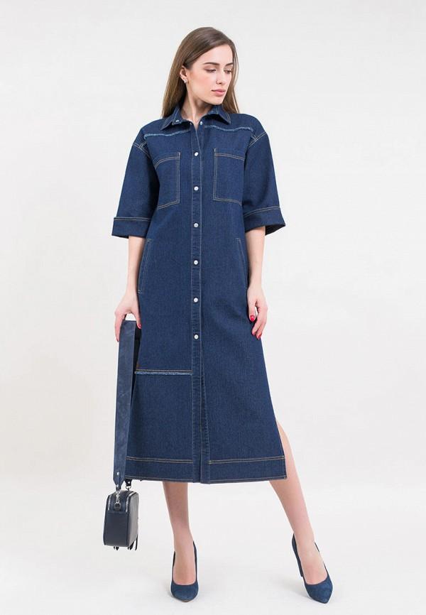 женское джинсовые платье maxa, синее