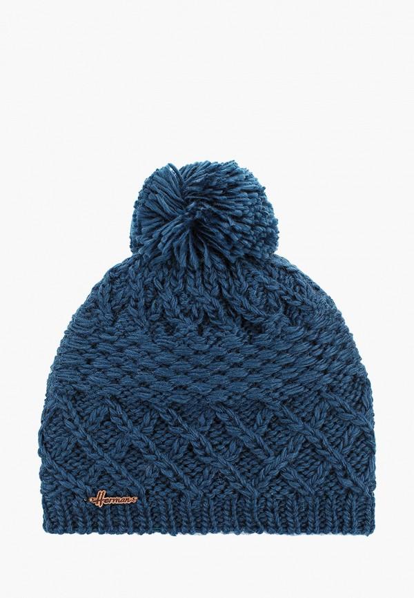 женская шапка herman, синяя