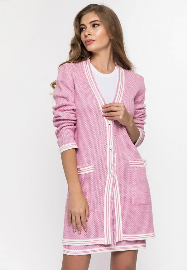 Фото - Женский кардиган Clever woman studio розового цвета
