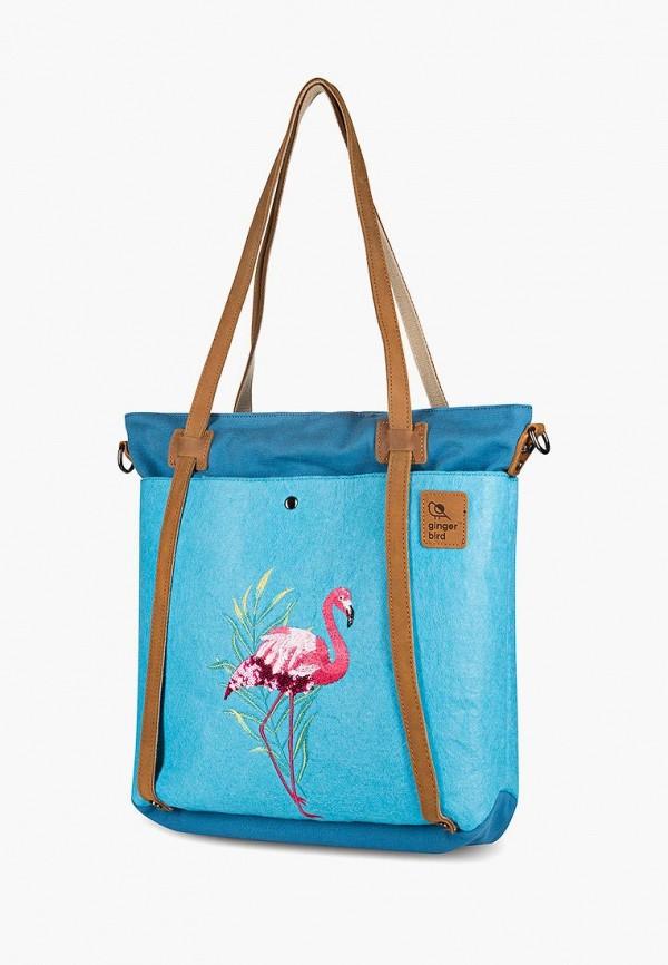Фото 2 - Женскую сумку Ginger Bird голубого цвета