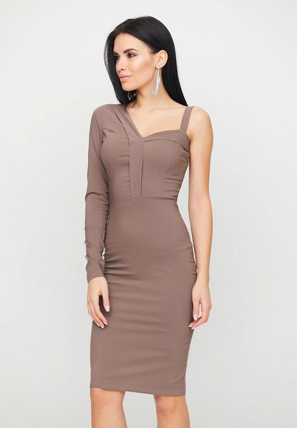 женское платье-футляр karree, коричневое