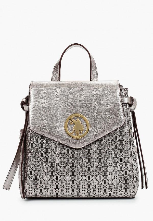 женский рюкзак u.s. polo assn, серебряный