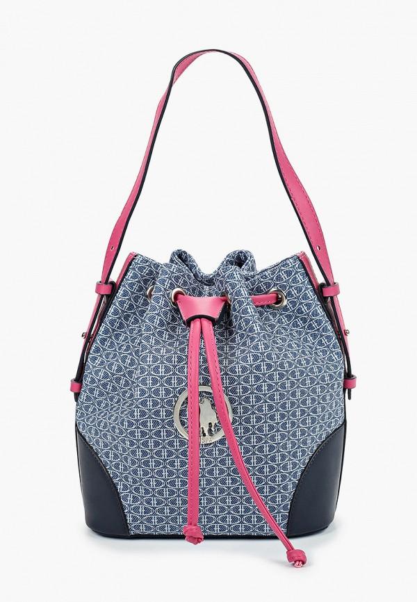 женская сумка-ведро u.s. polo assn, синяя
