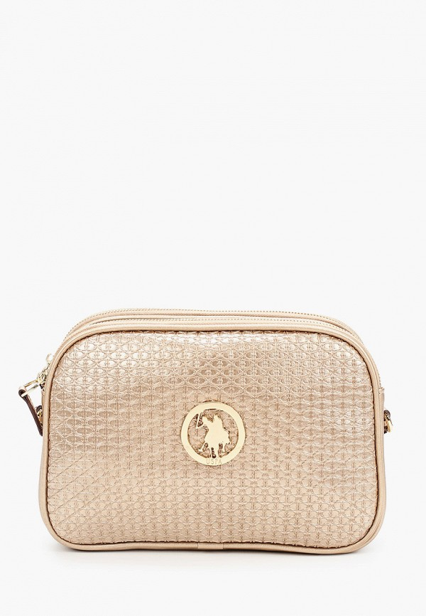 женская сумка через плечо u.s. polo assn, золотая