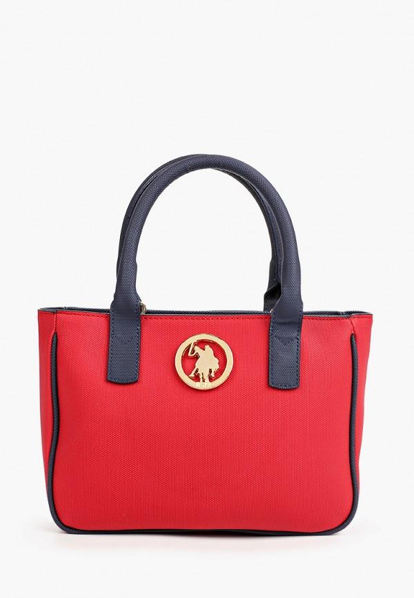 женская сумка с ручками u.s. polo assn, красная