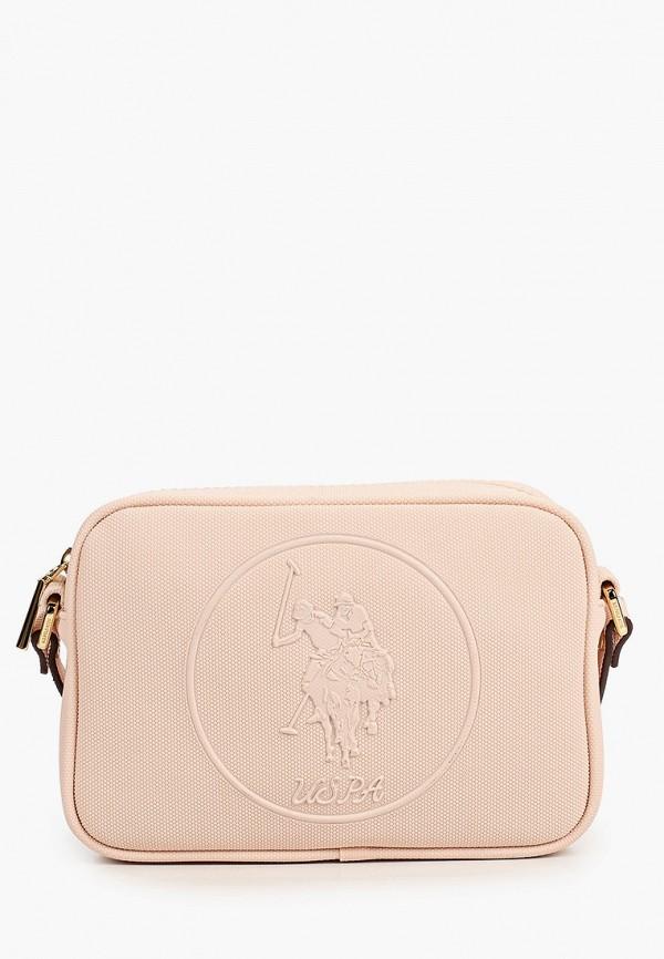 женская сумка через плечо u.s. polo assn, розовая