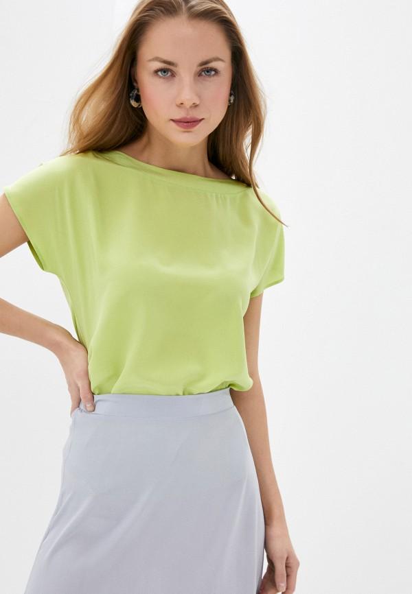 женская блузка с коротким рукавом falconeri, зеленая