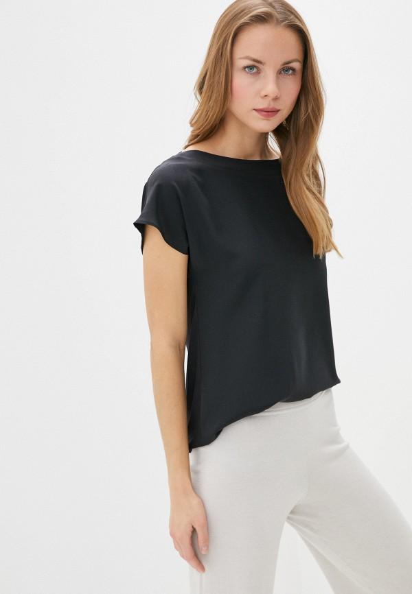 женская блузка с коротким рукавом falconeri, черная