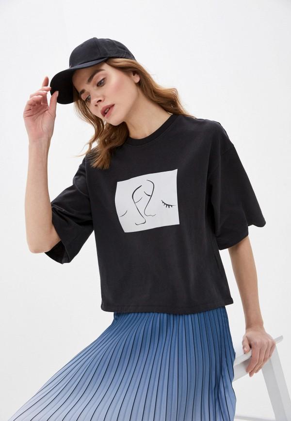 женская футболка sela, черная