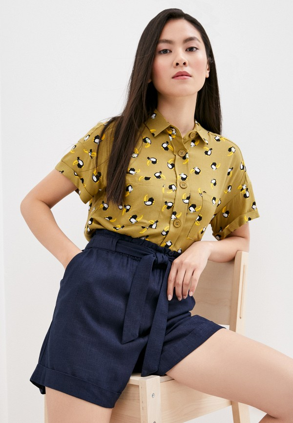 женская блузка с коротким рукавом befree, хаки