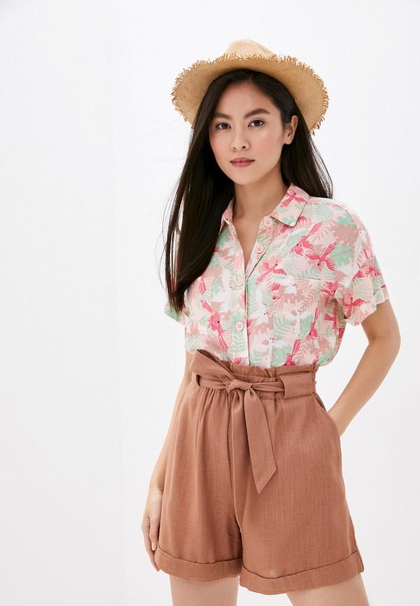 женская блузка с коротким рукавом befree, розовая