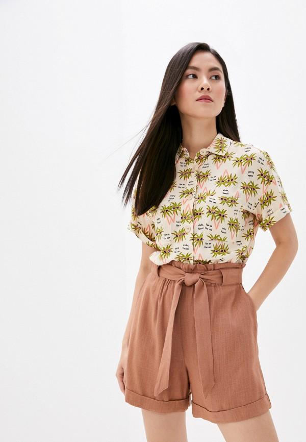 женская блузка с коротким рукавом befree, бежевая