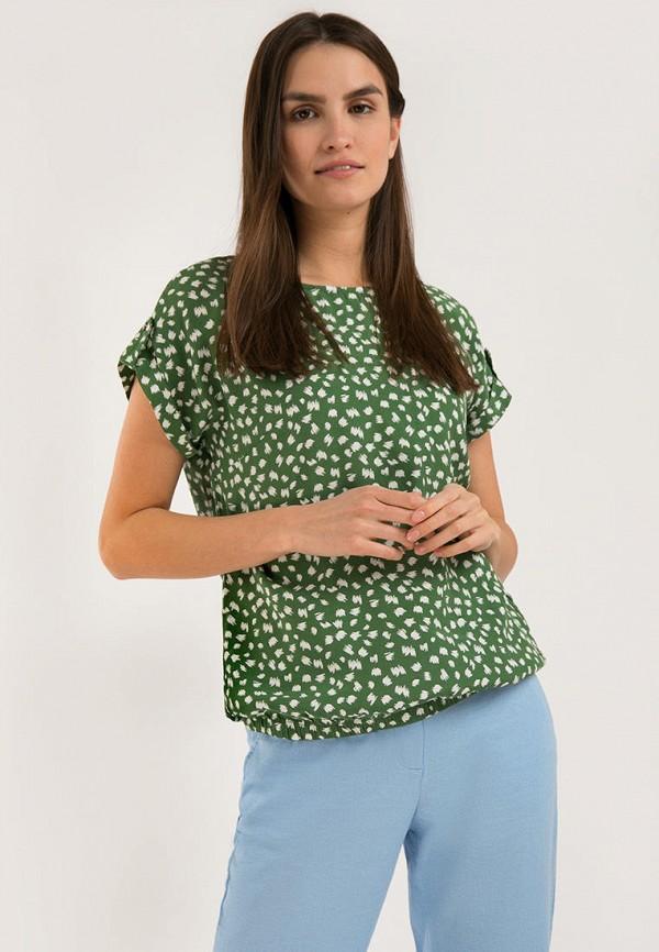 женская блузка с коротким рукавом finn flare, зеленая