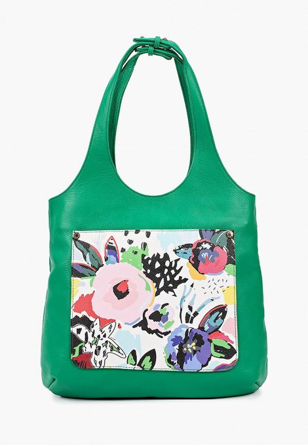 женская сумка с ручками marina creazioni, зеленая