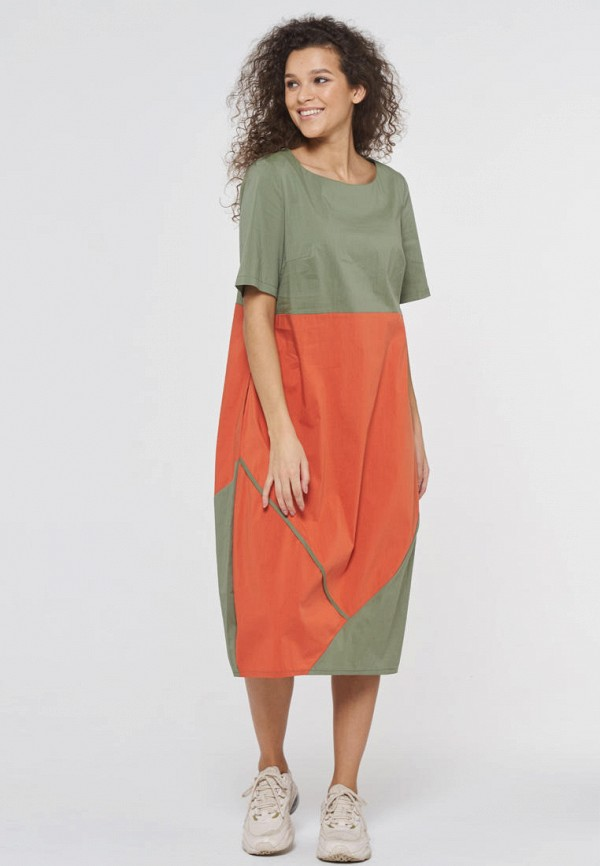 женское повседневные платье vay, оранжевое