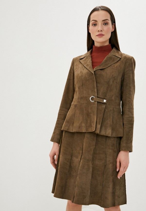 женская кожаные куртка madeleine, коричневая