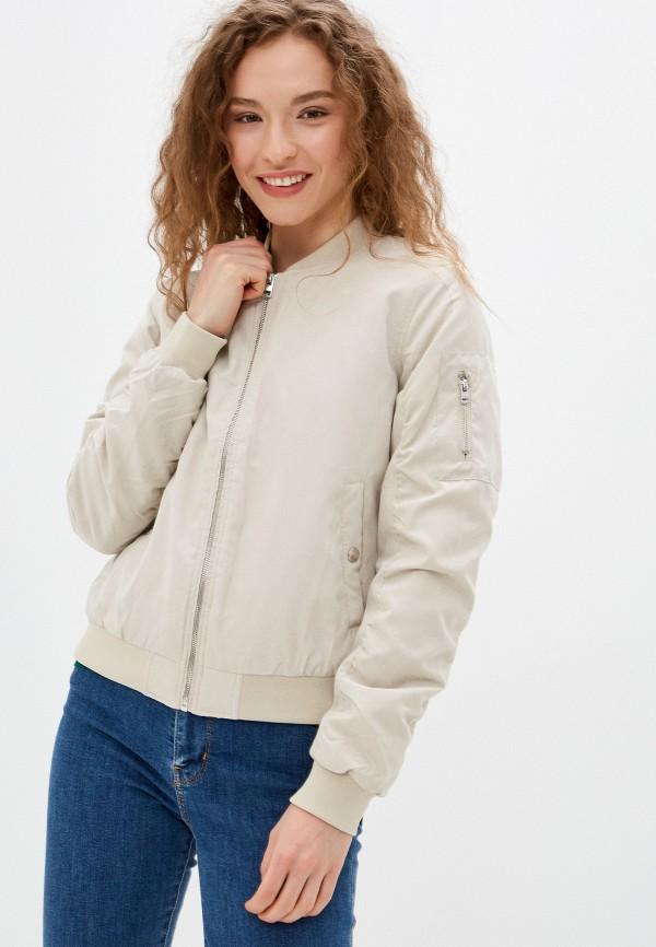 женская куртка бомбер befree, бежевая
