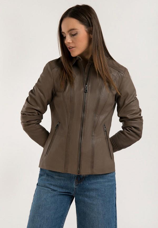 женская кожаные куртка finn flare, коричневая