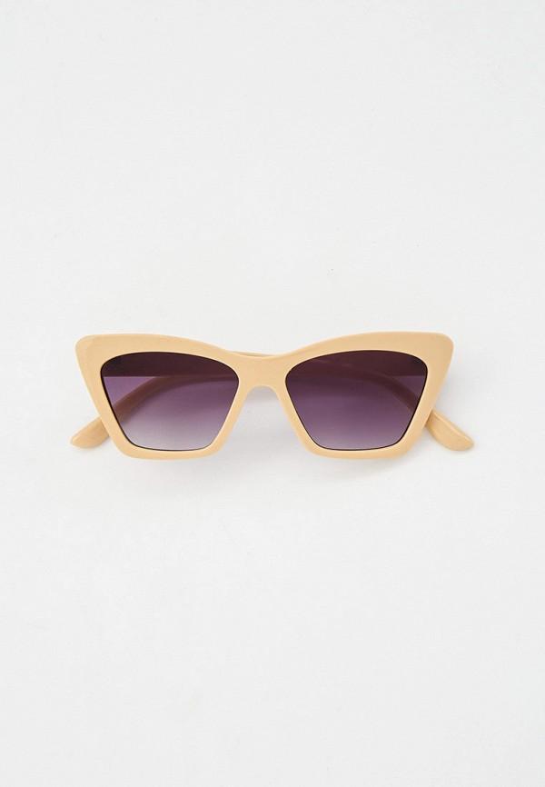 женские солнцезащитные очки кошачьи глаза love republic, бежевые