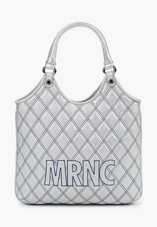 женская сумка с ручками marina creazioni, серебряная