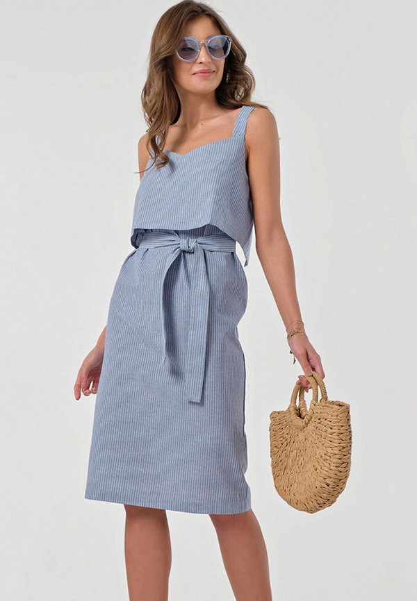 женское повседневные платье fly, голубое