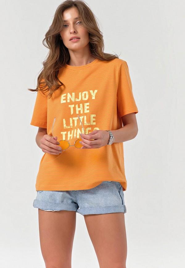 женская футболка fly, оранжевая