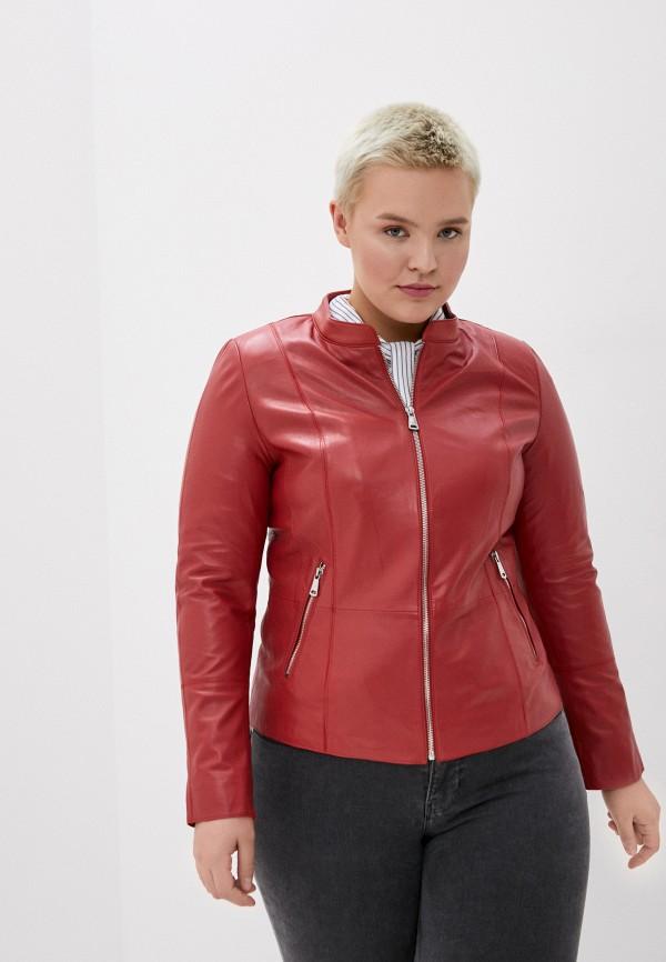 женская кожаные куртка le monique, красная