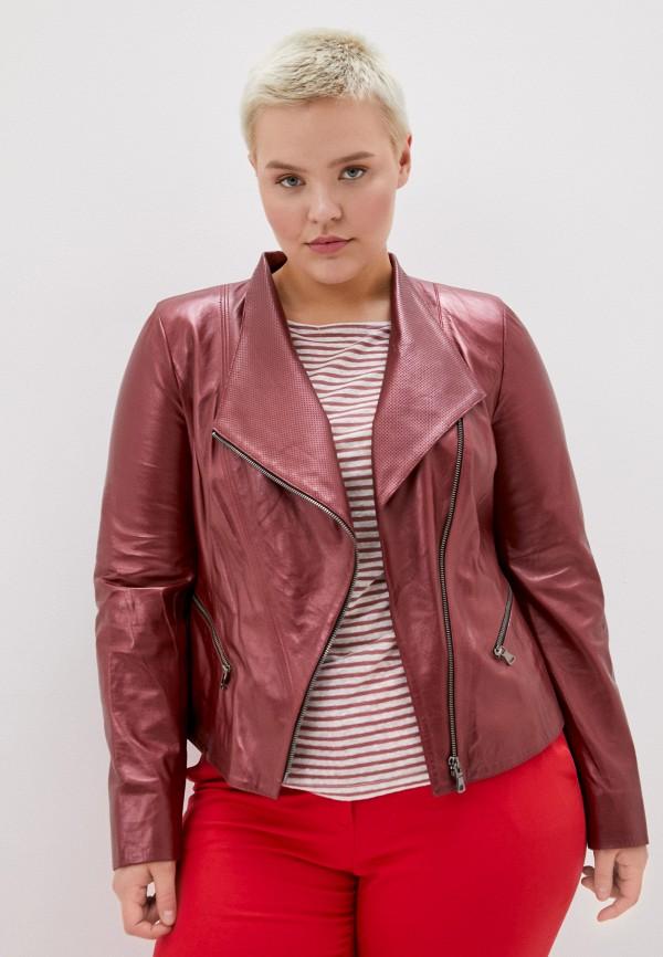 женская кожаные куртка le monique, бордовая