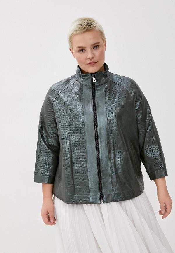 женская кожаные куртка le monique, зеленая