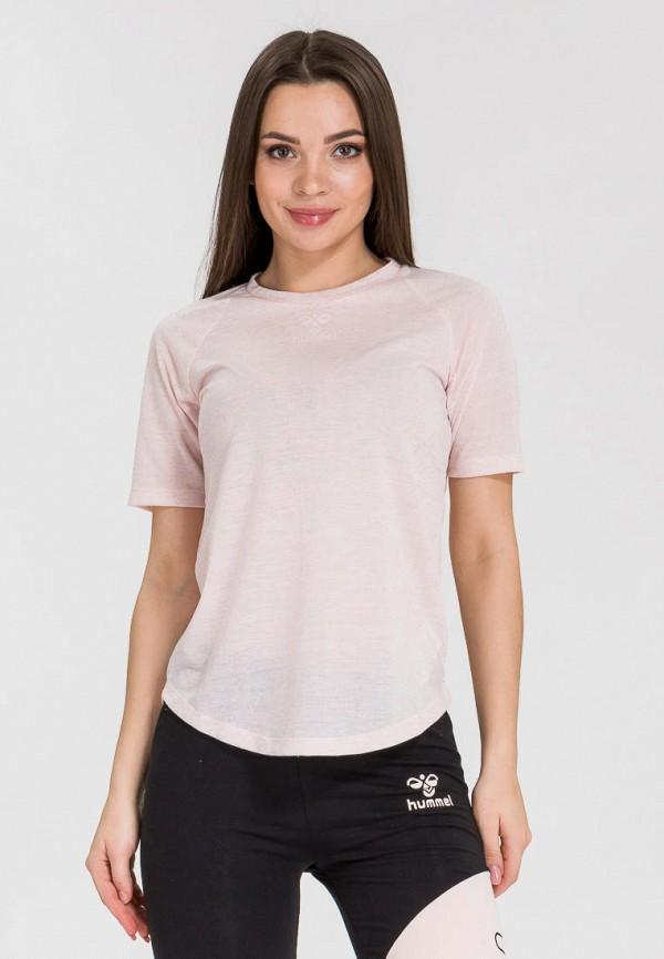 женская футболка hummel, розовая