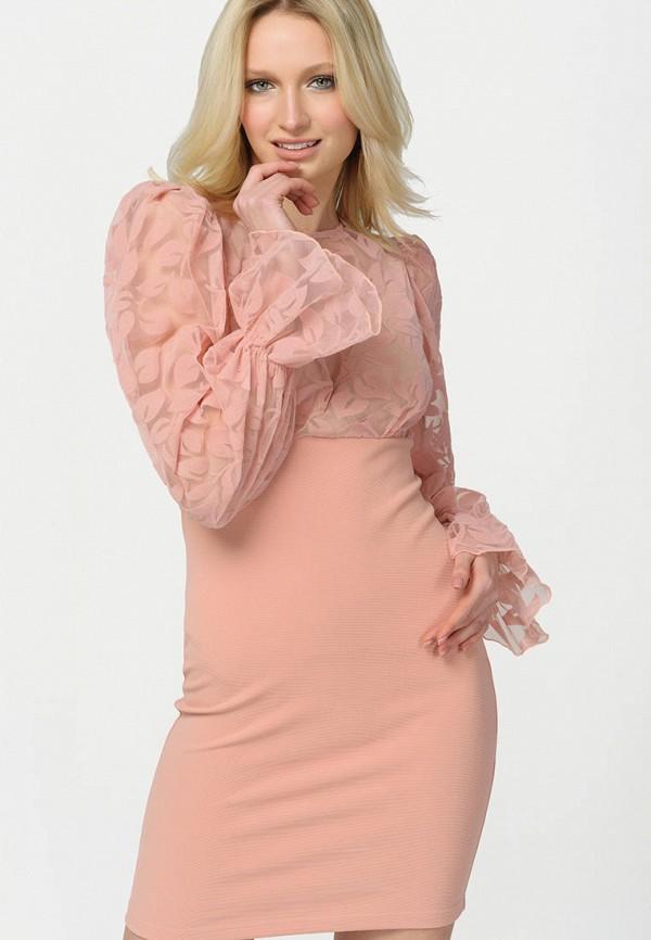 женское вечерние платье ricamare, розовое
