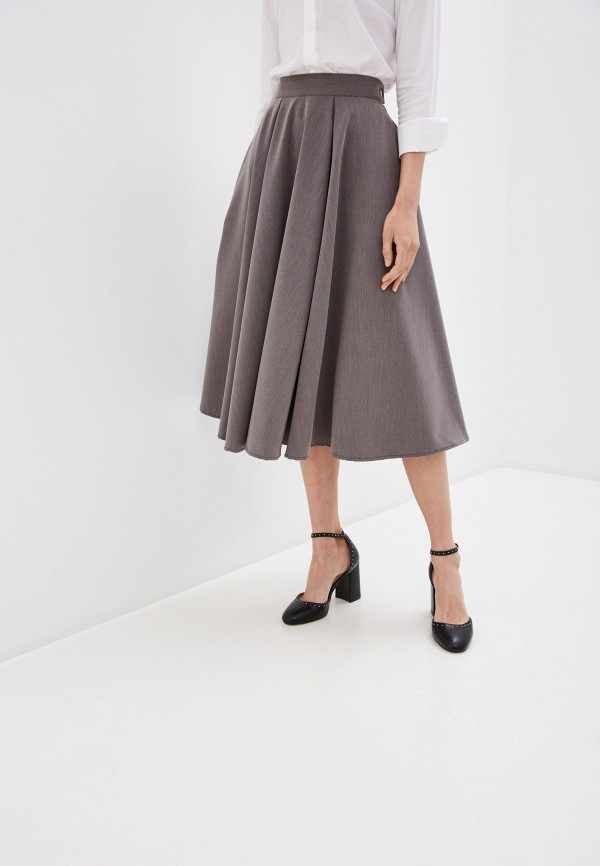 женская юбка-трапеции adzhedo, коричневая