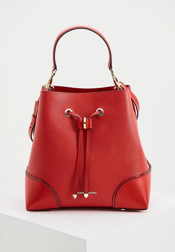 женская сумка-ведро michael kors, красная