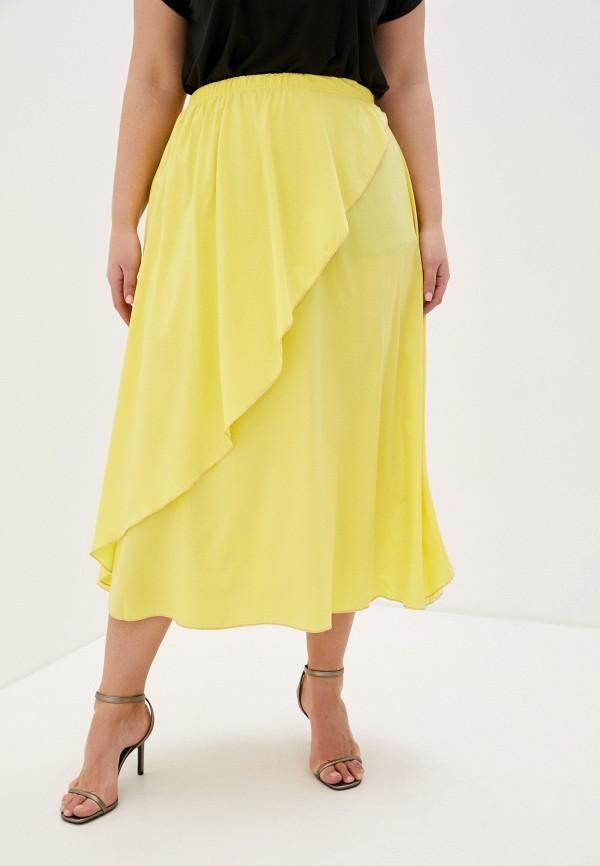 женская юбка-трапеции prewoman, желтая