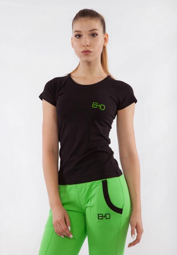 женская спортивные футболка bodro design, черная