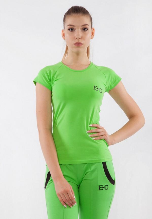 женская спортивные футболка bodro design, зеленая