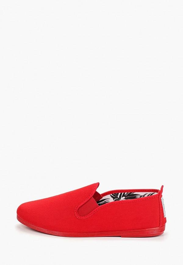 женские низкие слипоны flossy style, красные