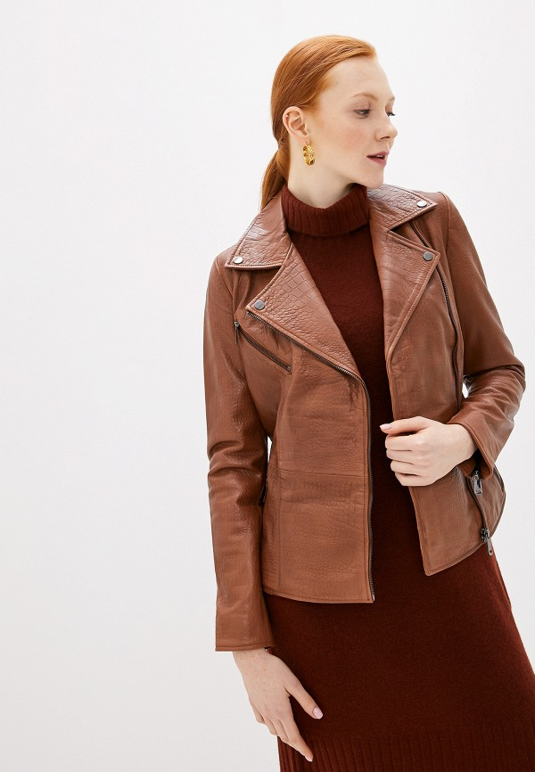 женская кожаные куртка la reine blanche, коричневая