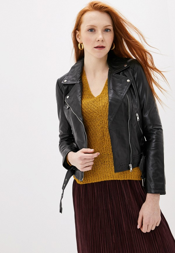 женская кожаные куртка la reine blanche, черная