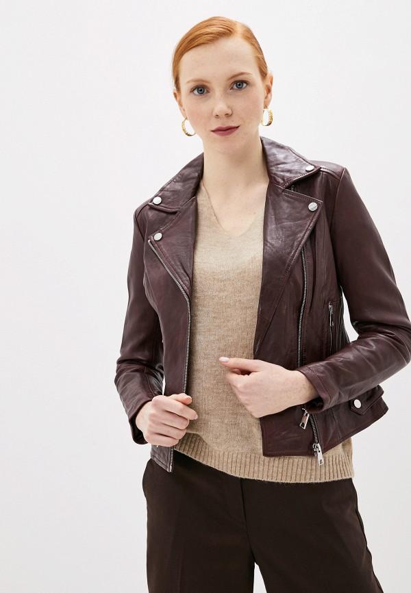 женская кожаные куртка la reine blanche, бордовая