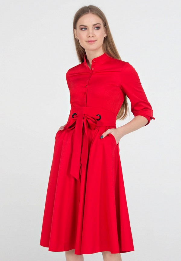 женское платье миди viravi wear, красное