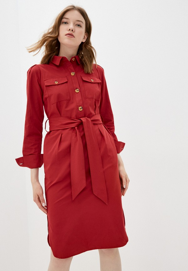 женское платье-рубашки zarina, бордовое