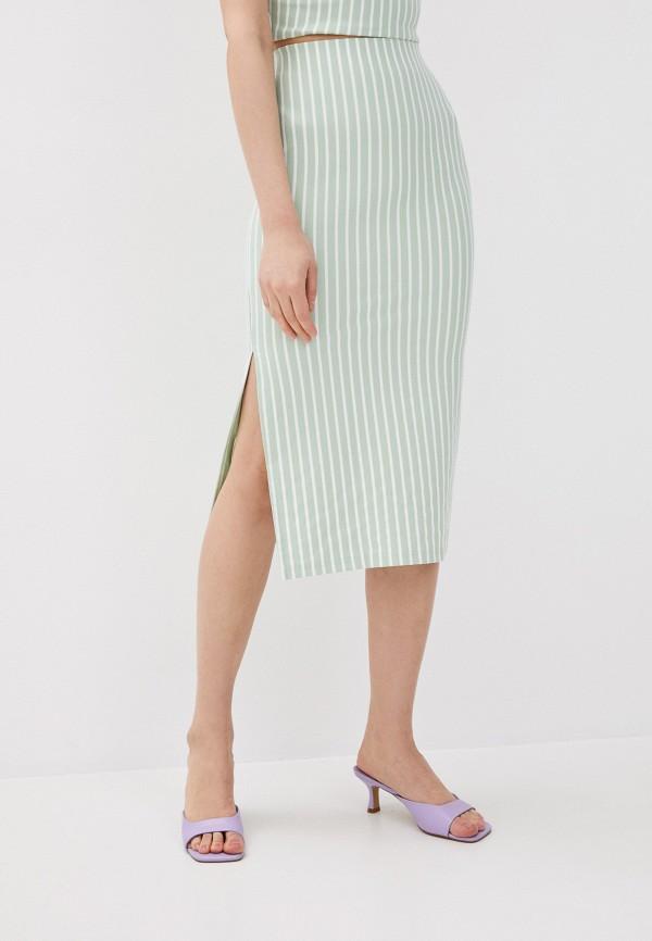 женская прямые юбка befree, зеленая