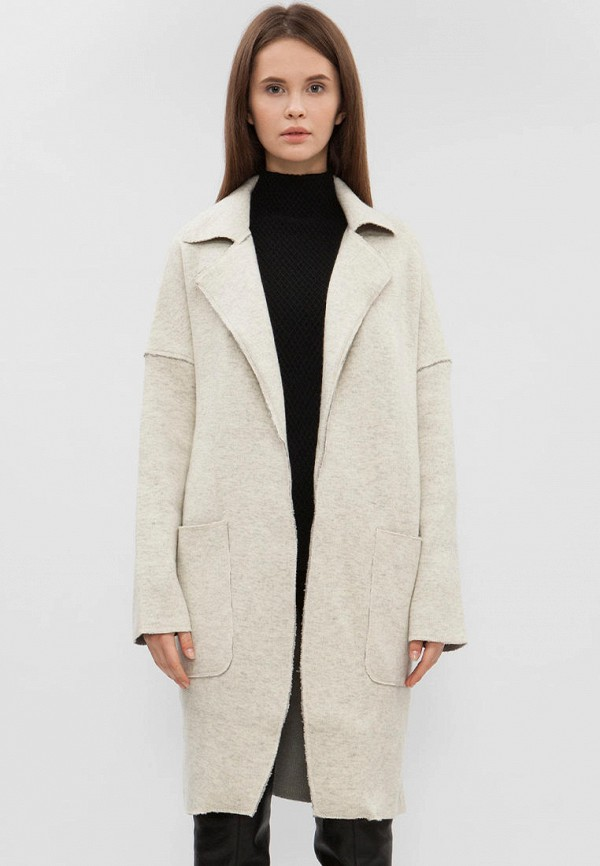 женское пальто preppy, бежевое